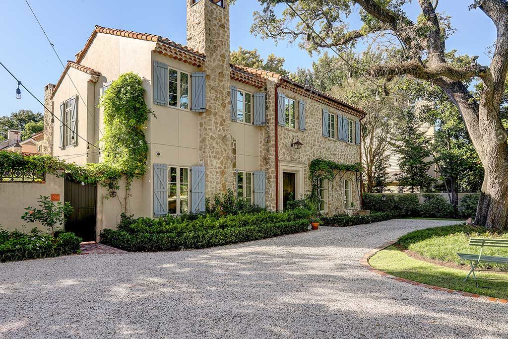 French-Provencal-Farmhouse-Style-River-Oaks, front yard with rock exterier