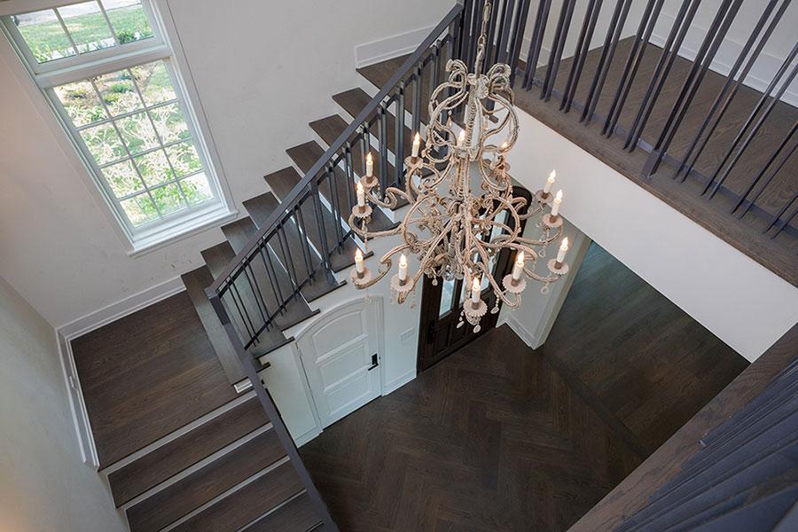Del-Monte-River-Oaks-Estate, Mirador Builders, staircase chandelier, crystal macaroni bead chandelier