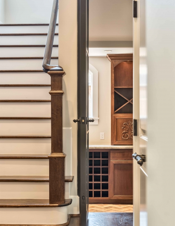 Afton Oaks, Custom staircase, railing, bar