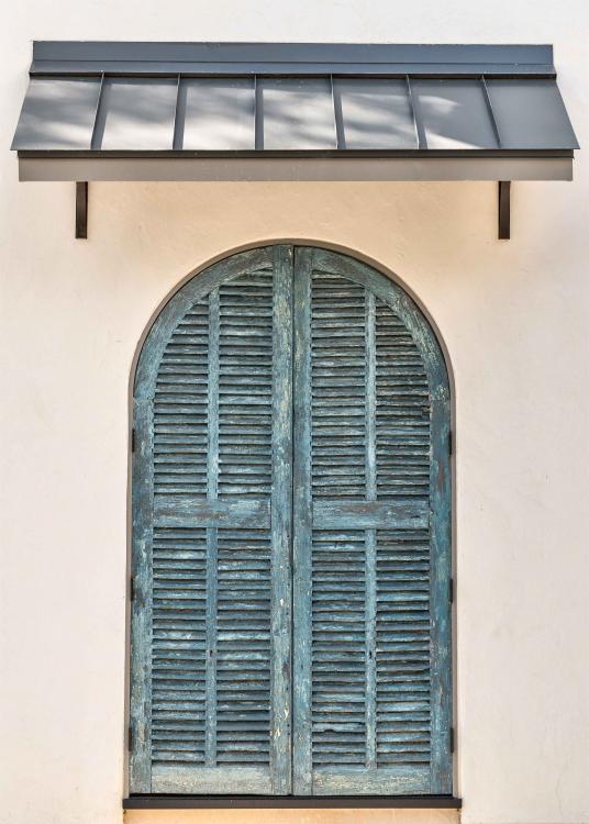French Normandy Custom Home Afton Oaks custom shutters, custom blue shutters