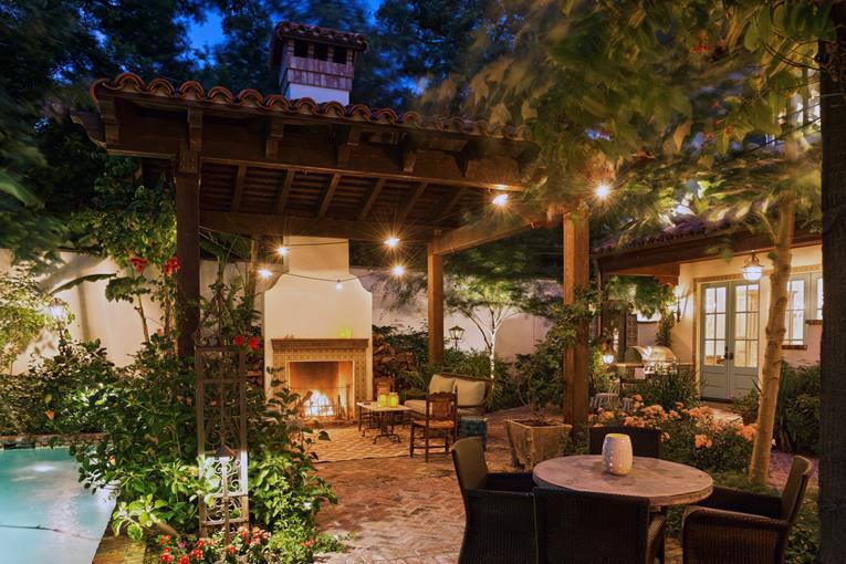backyard retreat, outdoor fireplace