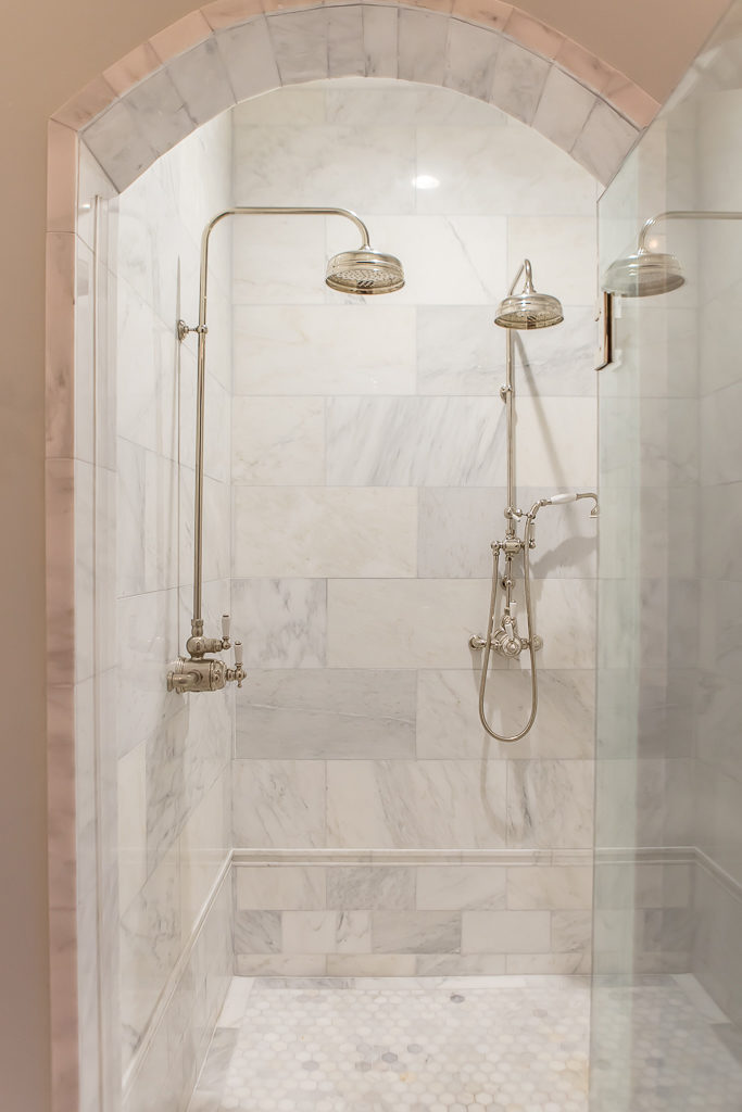 custom shower with duel shower heads