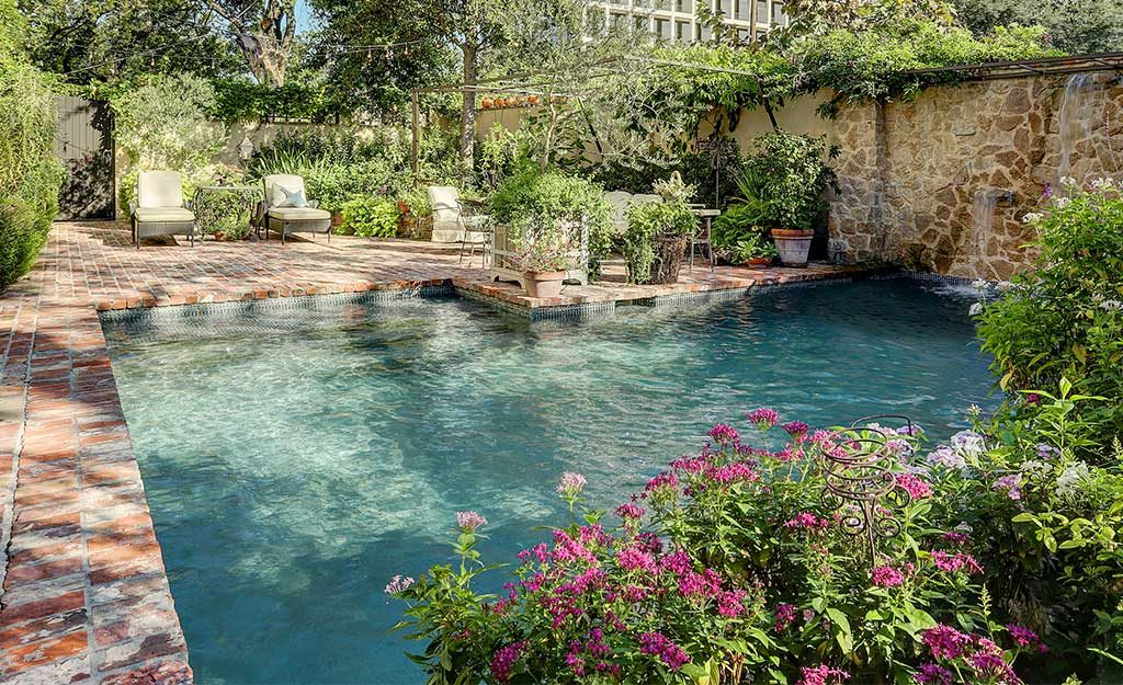 custom build pool and landscaping in River Oaks
