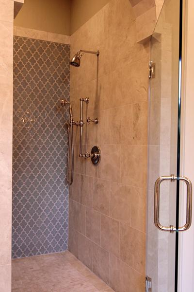custom shower, french style tile