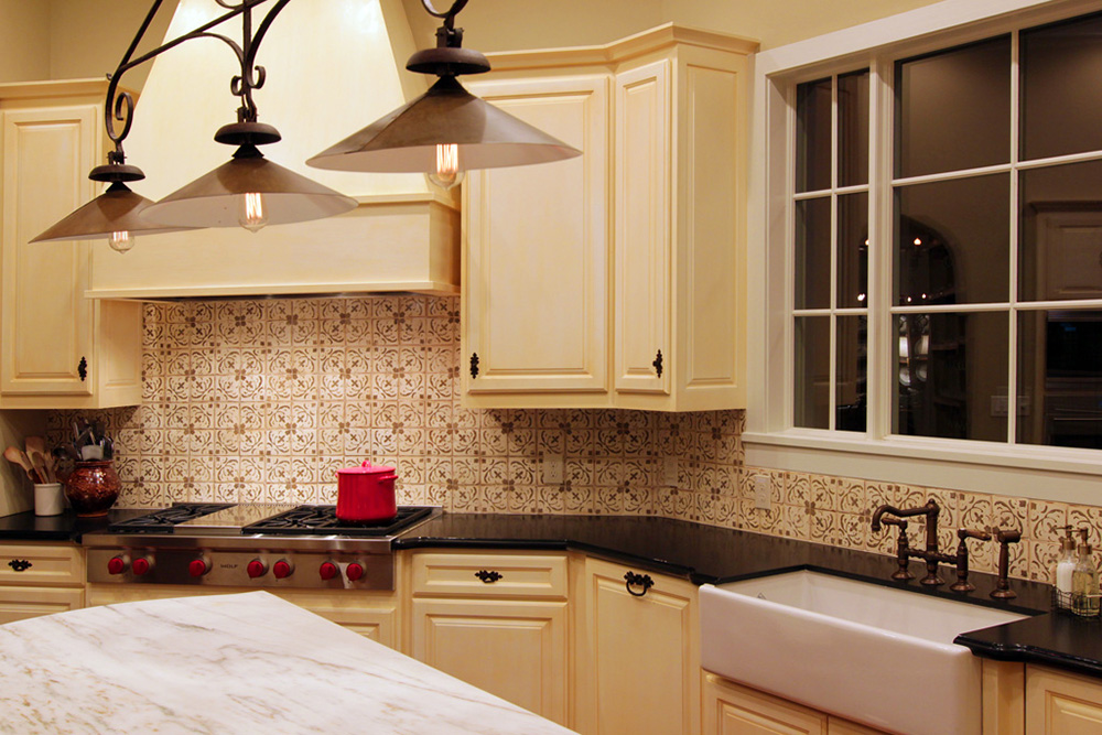 French style kitchen with farm sink