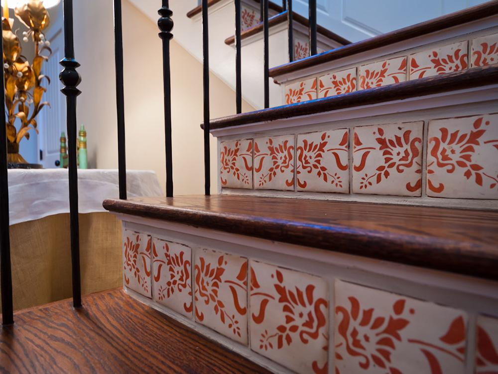 Mirador-French-Provencal-Style-Home, custom tile staircase