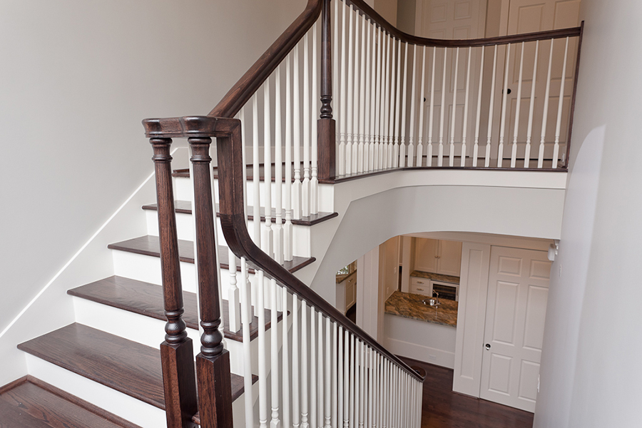 river oaks custom, custom staircase, wood stairs