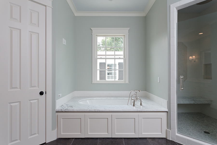 Traditional-Custom-River-Oaks bathroom, but and shower