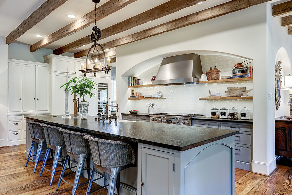 River Oaks custom kitchen, painted island