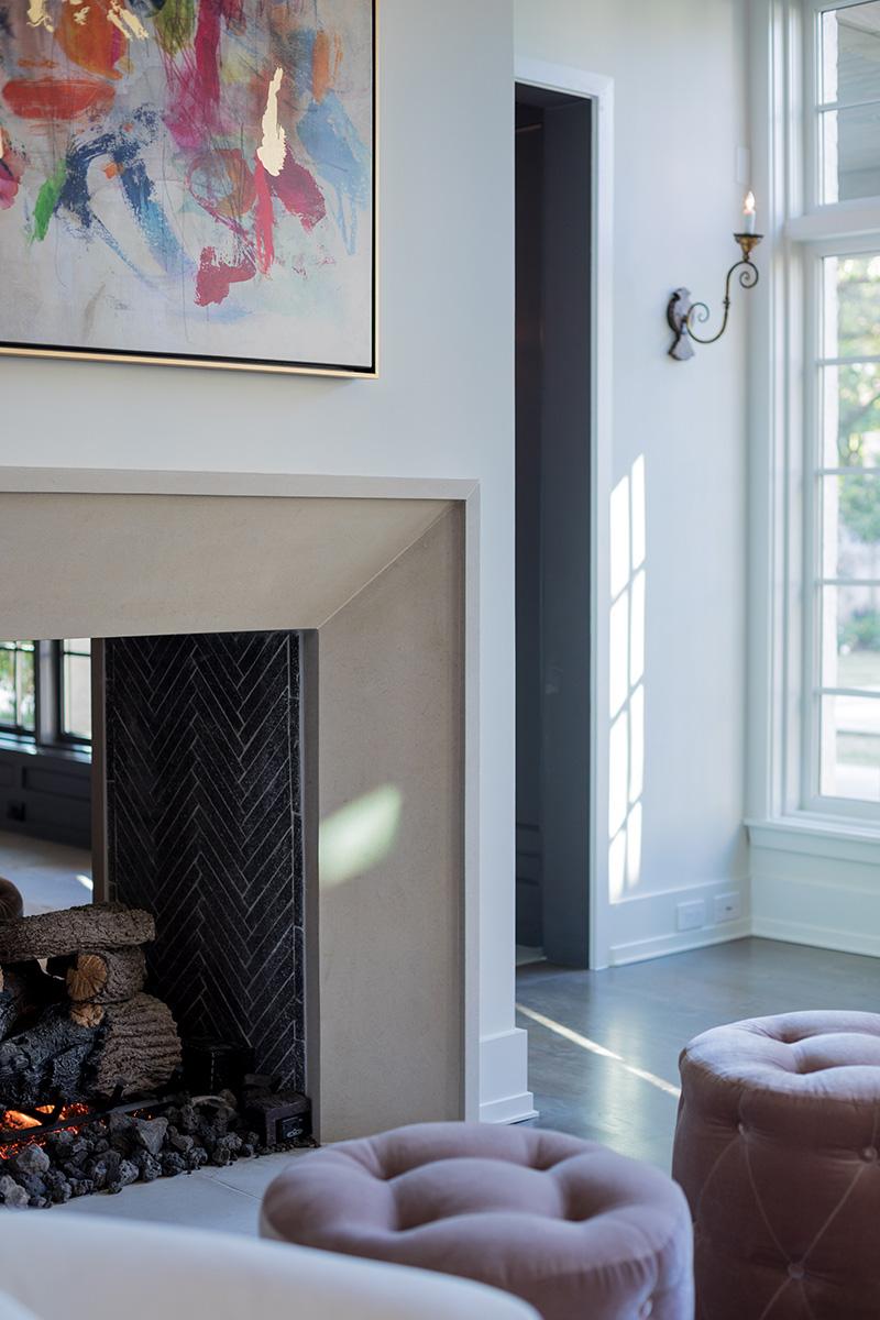 fireplace with limestone mantel, 2-sided gas log fireplace
