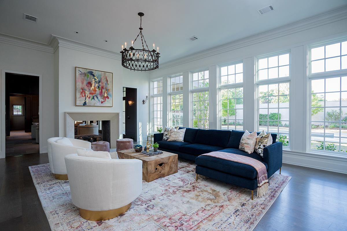 river oaks custom family room with large windows