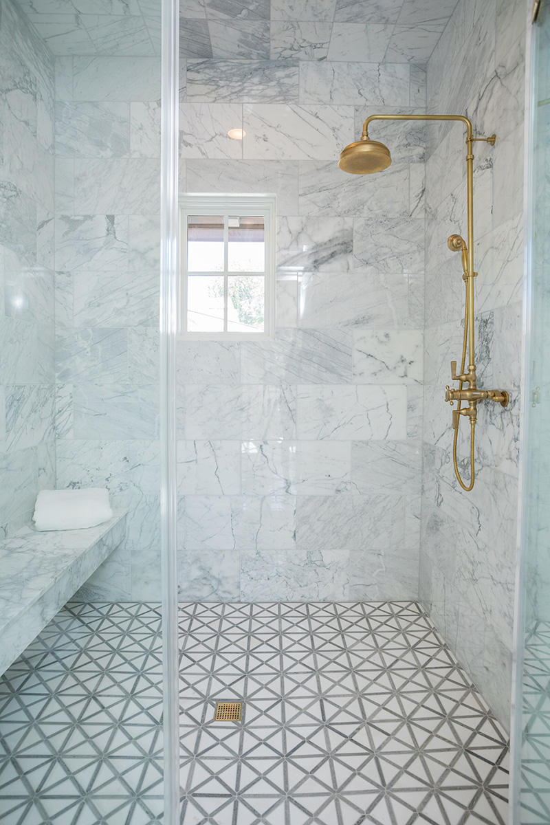 custom home with exposed Watermark Thermostatic Shower Systems