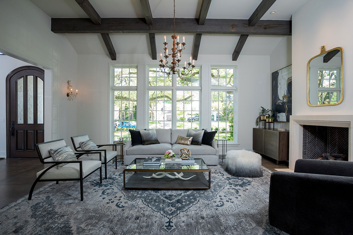 front conversation room in custom home