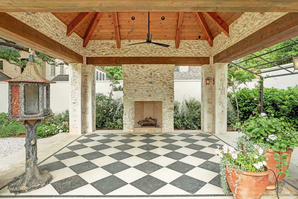River Oaks custom patio fireplace